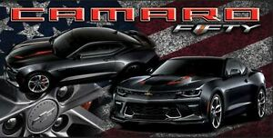 Chevrolet Chevy Camaro SS Patriotic American Flag 50th Muscle Vinyl Banner Sign
