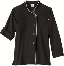 Ladies Chef Jacket Black with White Trim Size Small Nwt
