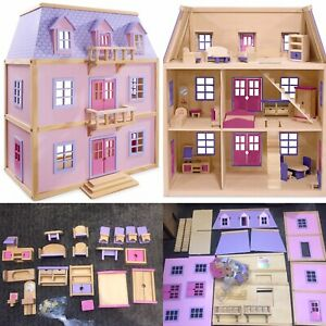 Melissa & Doug Wooden Deluxe Multi-Level Doll house Furniture Pink Mansion 1:12