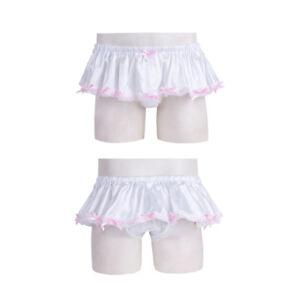 US Sissy Men Satin Lace Briefs Underwear Ruffled Tutu Skirt Panties Lingerie