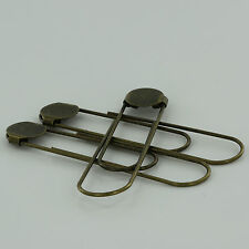 "12 ANTIQUE BRASS Jumbo/Giant Bookmarks 3 1/2"" Paper Clips/Paperclips w/Glue Pad"