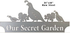 Vintage Antique Style Metal Sign Secret Garden Quails 10x21