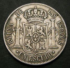 SPAIN 1 Escudo 1866 - Silver - Isabel II. - F/VF - 1149