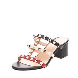 RRP€130 CARPE DIEM Leather Strappy Mule Sandals Size 35 UK 2 US 5 Caged Studded