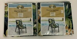 2 Hampton Bay Outdoor Sling Chair Slip Covers Brand New 20 X 44 Blue Floral