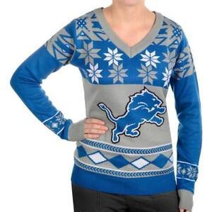 Detroit Lions WOMENS Ugly Christmas Sweater BIG LOGO V Neck NFL NEW 2015