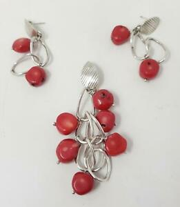 Red Coral Nugget 950 Silver Pendant & Post Dangle Earrings