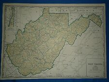 Vintage 1935 State & County MAP WEST VIRGINIA Old Original Folio Size Atlas Map