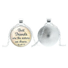 Best Friends Gift Friendship Quote Pendant Handmade Glass Dome Necklace Unisex