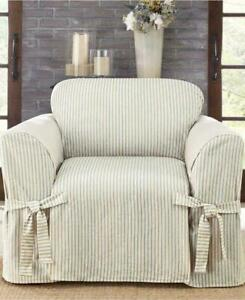 SUREFIT Waverly Blue Duck Ticking Stripe One Piece Arm CHAIR Slipcovers