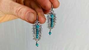 Oaxacan Filigree Earrings. Turquoise & Silver. Gusanos. Mexico. Frida Kahlo