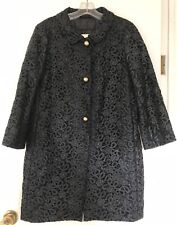 KATE SPADE Black Floral Lace Button Up Franny Coat Size S  NWOT