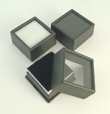 "3 PC Black 1-1/2""x3/4"" Square Glass Top Gem Box/Jar storage/display gold/coin"