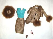 Barbie Ensemble Fashion Golden Tweed Jacket/Skirt For Barbie Doll Repro vf06