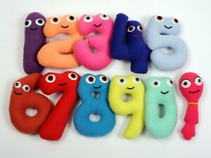 Handmade soft toys numbers set 0 to 9, large 9 inch / 23 cm, safe for all ages.