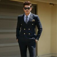 Black Double Breasted Men's Formal Suit Summer Best Men Slim 2 Pieces Tailored