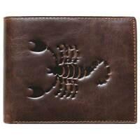 Unique Bi-Fold Brown Genuine Leather Wallet ID Credit Card Holder Zodiac SCORPIO