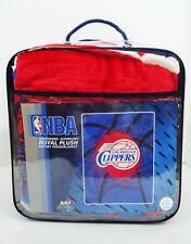 Los Angeles Clippers ROYAL PLUSH RASCHEL BLANKET NBA New 60 x 80 152cm x 203cm