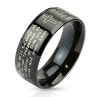 Outlined Cross and Lord's Prayer Black IP Stainless Steel Wedding Band Mens Ring