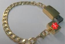 Gold Bracelet USB EHR EMR Medical Alert ID-NIB Flash(Personal Health Records)