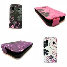 CASE FOR SAMSUNG GALAXY ACE FLIP PU LEATHER FLOWER SWIRL VARIOUS COLOURS COVER