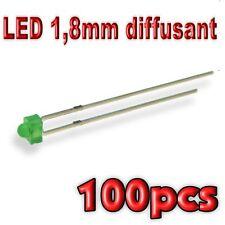 366/100# LED 1,8mm vert diffusant 100pcs