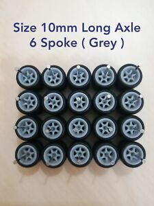 HOT WHEELS CUSTOM WHEELS RUBBER WHEELS TIRES 10 SETS 1/64 SIZE 10mm Grey