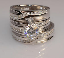 Set Wedding Engagement Rings L7 m 10 Men And Ladies White Gold Finish Trio