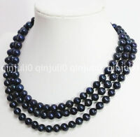 8-9mm black cultured freshwater pearl round bead chain long necklace 36'' JN709