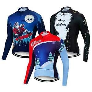 Christmas Cycling Jersey Long Sleeve Men's Bike Jersey Shirt Cycle Tops S-5XL