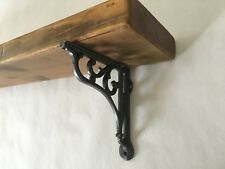 """Vintage Reclaimed CHUNKY Wood Shelf With 6""""  Cast Iron Brackets ,pallet Wood"""