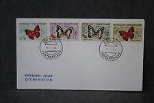 République CENTRAFRICAINE Enveloppe 1er  jour 1961 Papillons divers