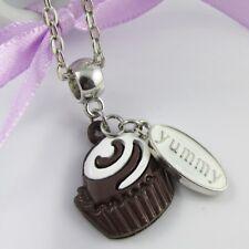 Cute n Kitsch Yummy Chocolate Cupcake Charm Necklace Silver Tone 45cm
