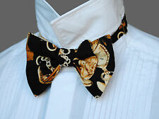 Black STEAMPUNK Pocket Watches Dicky Dickie Bow Tie & Pocket Square Handkerchief