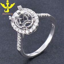 7x9MM Oval Cut Solid 14K White Gold Natural Diamond Semi Mount  Ring Setting