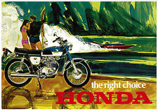 HONDA Poster CB350 1967 1968 1969 and 1970 Pop Art Suitable to Frame