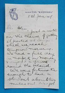 SS Katoomba 1937 original on board letter handwritten