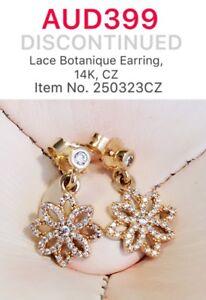 Genuine Pandora 14ct Gold Lace Botanique Earrings, 250323CZ