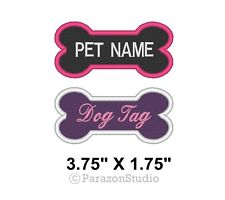 "Custom Embroidered Dog Bone Name Pet Name Dog Tag Sew on Patch 3.75"" X 1.75"""