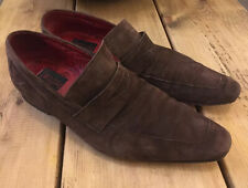 Jeffery West Muse Dark Brown Suede 100% Leather Slip On Penny Loafers UK 10
