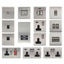 2-Gang Brushed Plug Socket Home Electrical Fittings