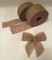 Natural Jute Ribbon Hessian Burlap Rustic Wedding Bows Strap Craft Floristry
