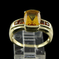 Estate 5 ct Octangle Cut Citrine With Diamond 14K Yellow Gold Promise Ring