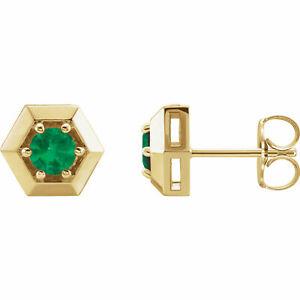 Emerald Geometric Earrings In 14K Yellow Gold