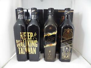 Johnnie Walker Whisky Black Label Art Deco Shadow Taiwan 2x 700ml 4 bottles NEW