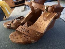 Dune Head Over Heels Brown Leather Wedge Sandals Size 7