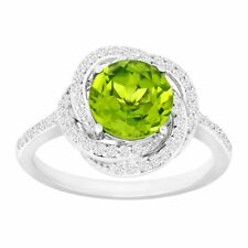 2 3/8 Ct Natural Peridoto & creado Zafiro Blanco Anillo en Plata Esterlina