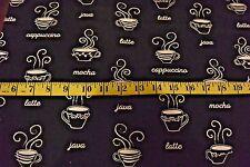 Java Cappucino Mocha Latte Coffee Cups & Words Black Cotton Flannel Fabric