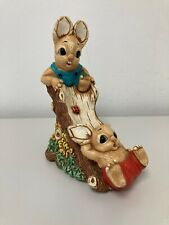Rabbit Twins Woodlander Slide Stoneware Ornament 16x12cm E41