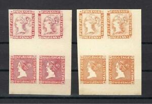Mauritius 1848 1p & 2p red & orange proof Victoria FORGERY REPLICA blocks 4 MNH